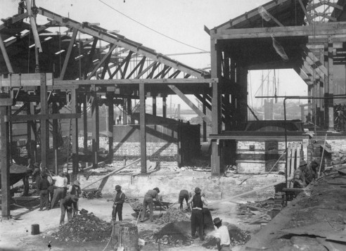 New blast furnace under construction 1916