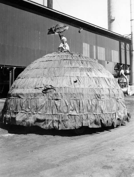 Reata Armstrong as Dolly Varden on Works Manager's car, VP Day Procession (Frank Whitworth collection)