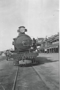 Steam train in Ellen Street